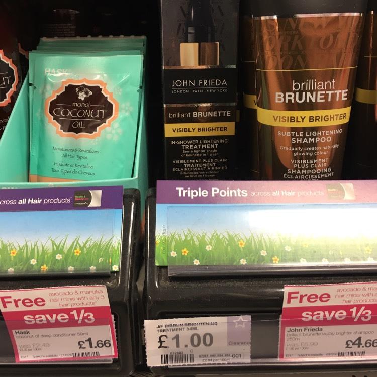 John Frieda brilliant brunette lightening treatment £1 in Superdrug