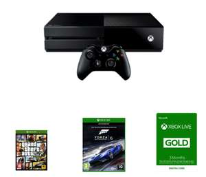 Preowned Xbox One 500GB Bundle (Fair Condition) + Grand Theft Auto V + Forza Motorsport 6 + Xbox Live 3 Month Gold Membership + Now TV 2 Month Entertainment pass £169.99 @ Game
