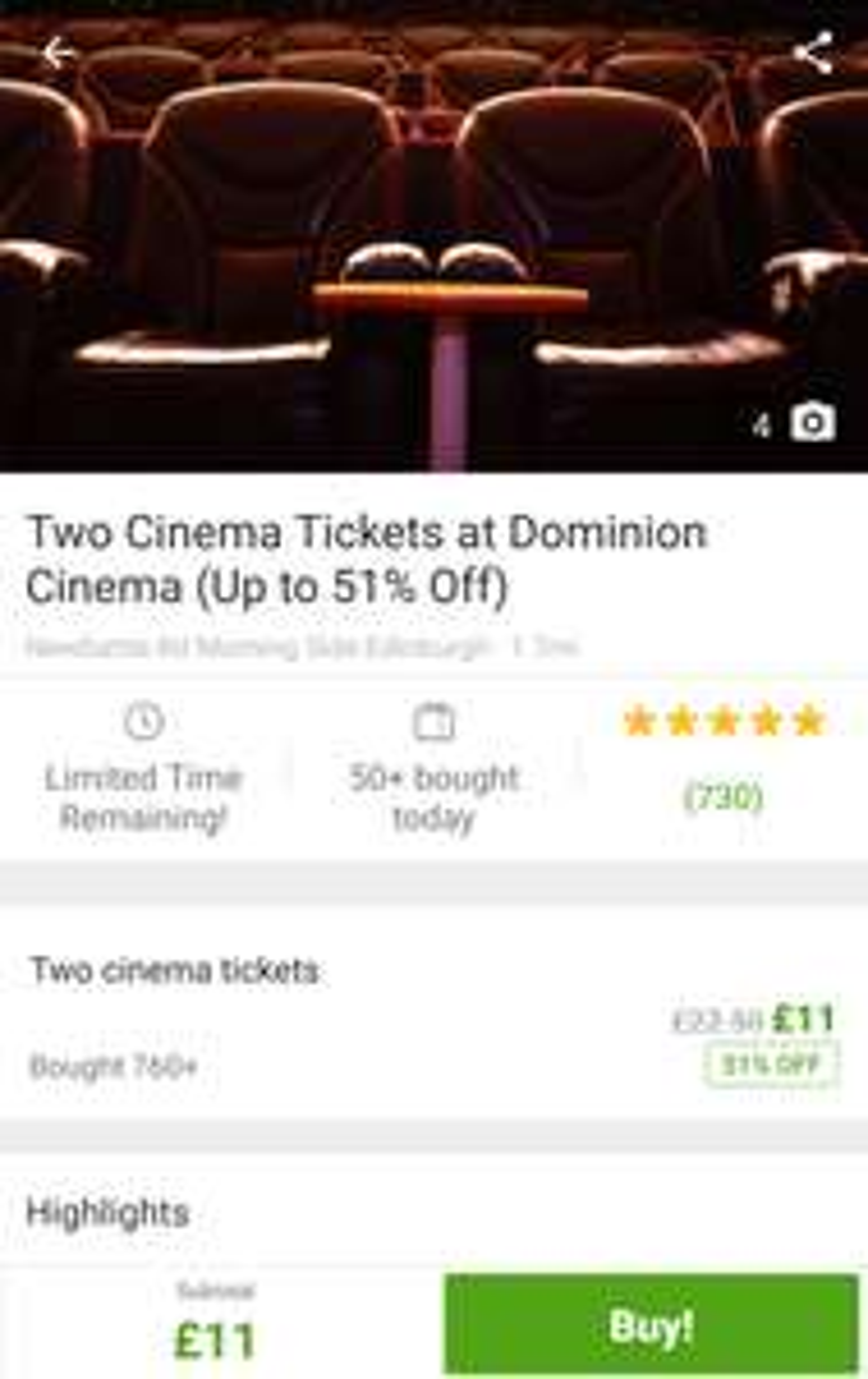 Two Tickets to Dominion Cinema (Edinburgh) £11 @ Groupon