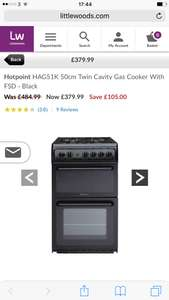 Hotpoint HAG51K 50cm Twin Cavity Gas Cooker With FSD - Black £379.99 @ Littlewoods