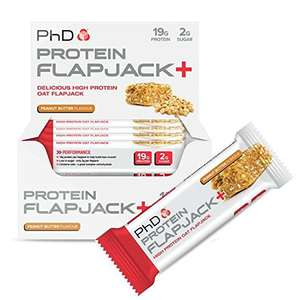 PhD Nutrition Protein Flapjack+ Bars, Peanut Butter, Apple & Raspberry and Forrest Berries flavours available - Pack of 12 x 75g £9.95 prime / £14.70 non prime @ Amazon