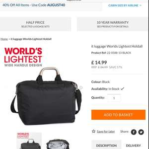 It luggage Worlds Lightest Holdall Black or Red £8.99 with code @ Bags ect