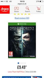 Dishonored 2 Xbox One Game at Argos for £9.49