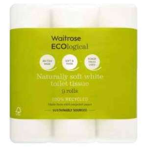 Waitrose ecological toilet rolls 9 pack £2.18 with PYO (normally £3.75)