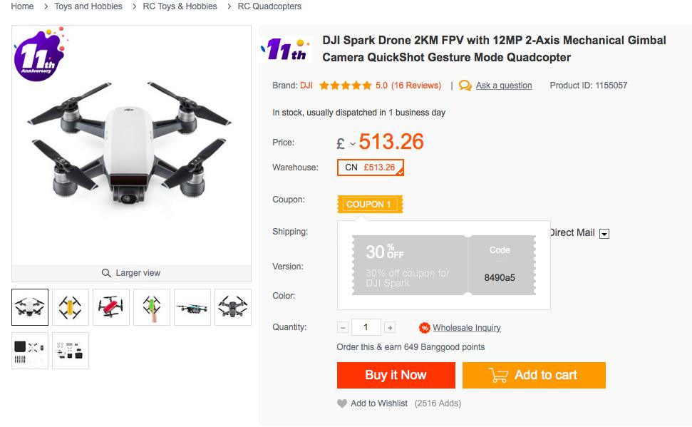 DJI Spark with coupon from bangood.com - £359.28