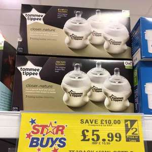 tommee tippee 3 feeding bottles home bargains - £5.99
