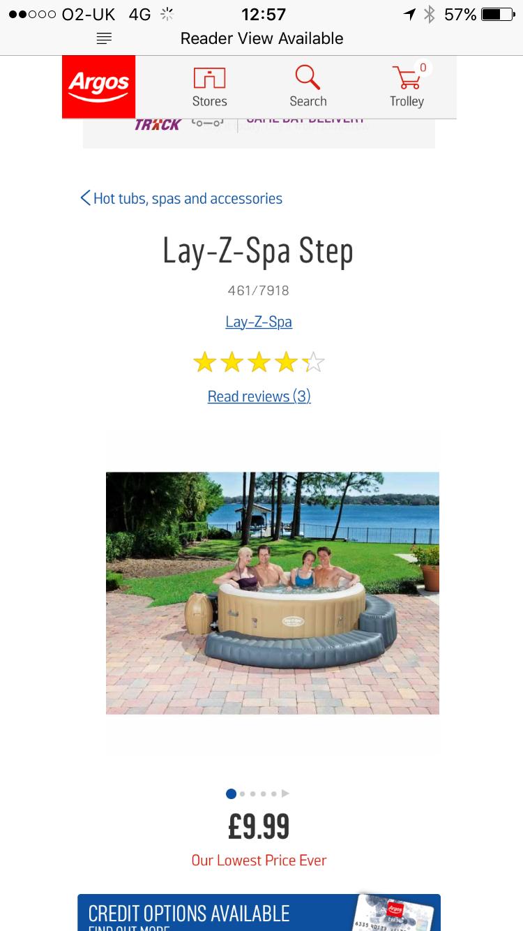 Lay z spa step - £9.99 @ Argos (C&C)