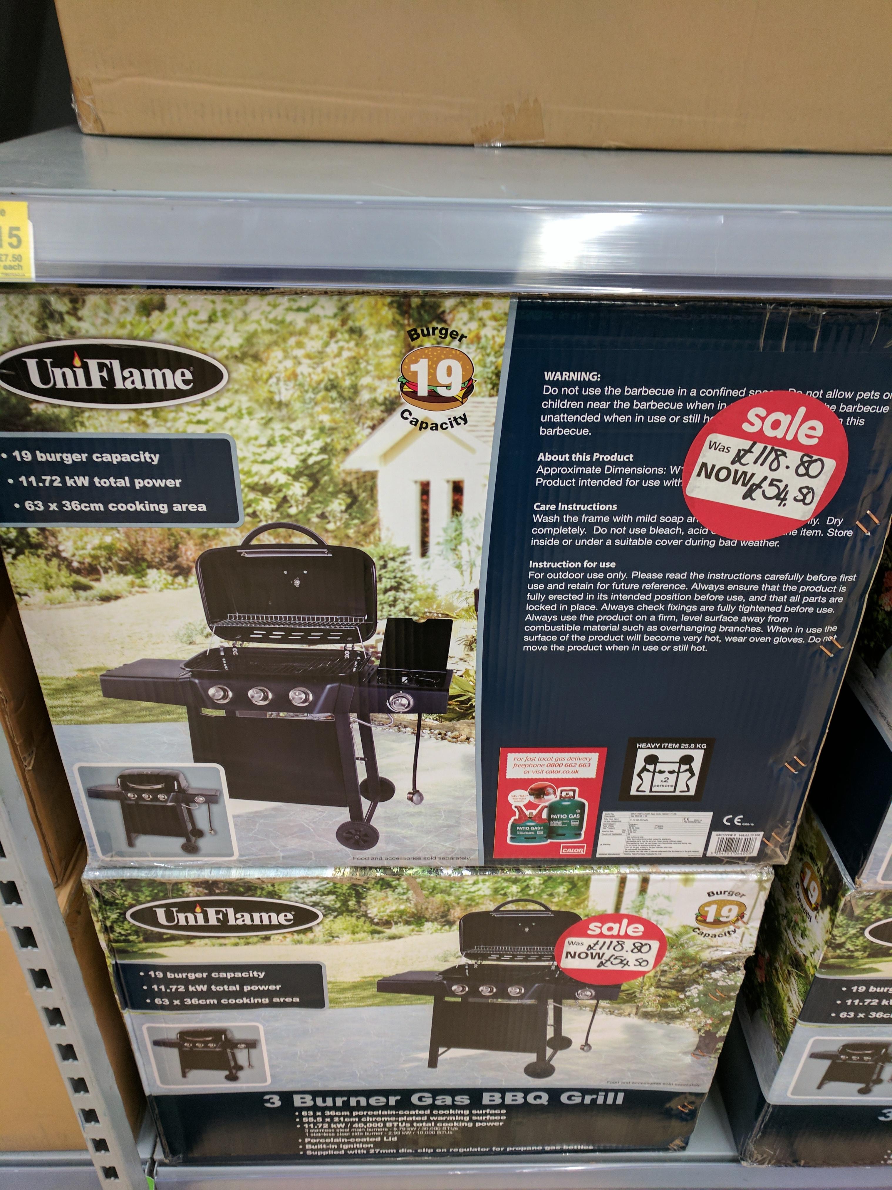 3 burner gas BBQ grill by Uniflame. Was £118.80 NOW £54.50 @ Asda (Edinburgh)