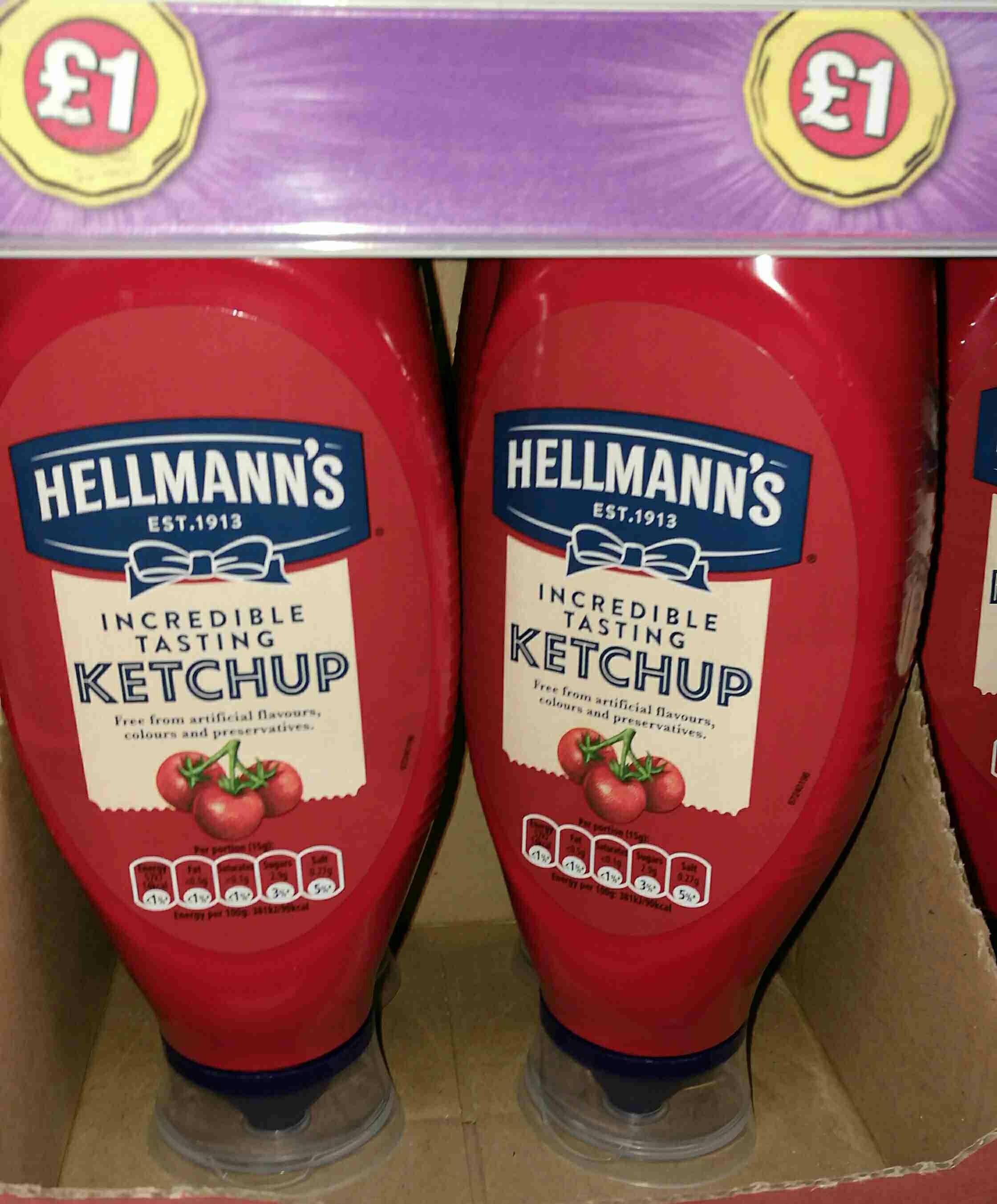 Poundland: Hellmans Incredible Tasting ketchup 800g £1.00