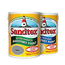 Sandtex Masonry Paint, 5L all colours in smooth and textured £17 a pot at B&Q