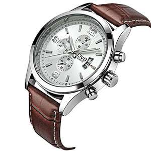 CIVO Men's White Decorative Sub Dial Japan Movement Luxury Brown Leather Band Wrist Watch - £13.99 (Prime / £17.98 non Prime) Sold by CIVO-UK and Fulfilled by Amazon