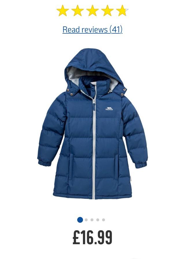 Trespass padded girls coat £16.99 C+C from Argos