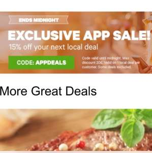 Extra 15% off for your first local deal purchased today via app @ Groupon. Ends midnight tonight!