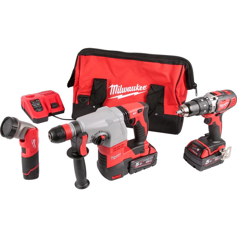 Milwaukee M18SET2B-513B 18V Li-Ion Cordless Combi Drill, SDS Hammer Drill & M12 LED Torch Kit 2 £349 @ Toolstation