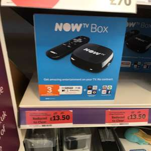 Now tv box to clear £13.50 at Sainsbury's