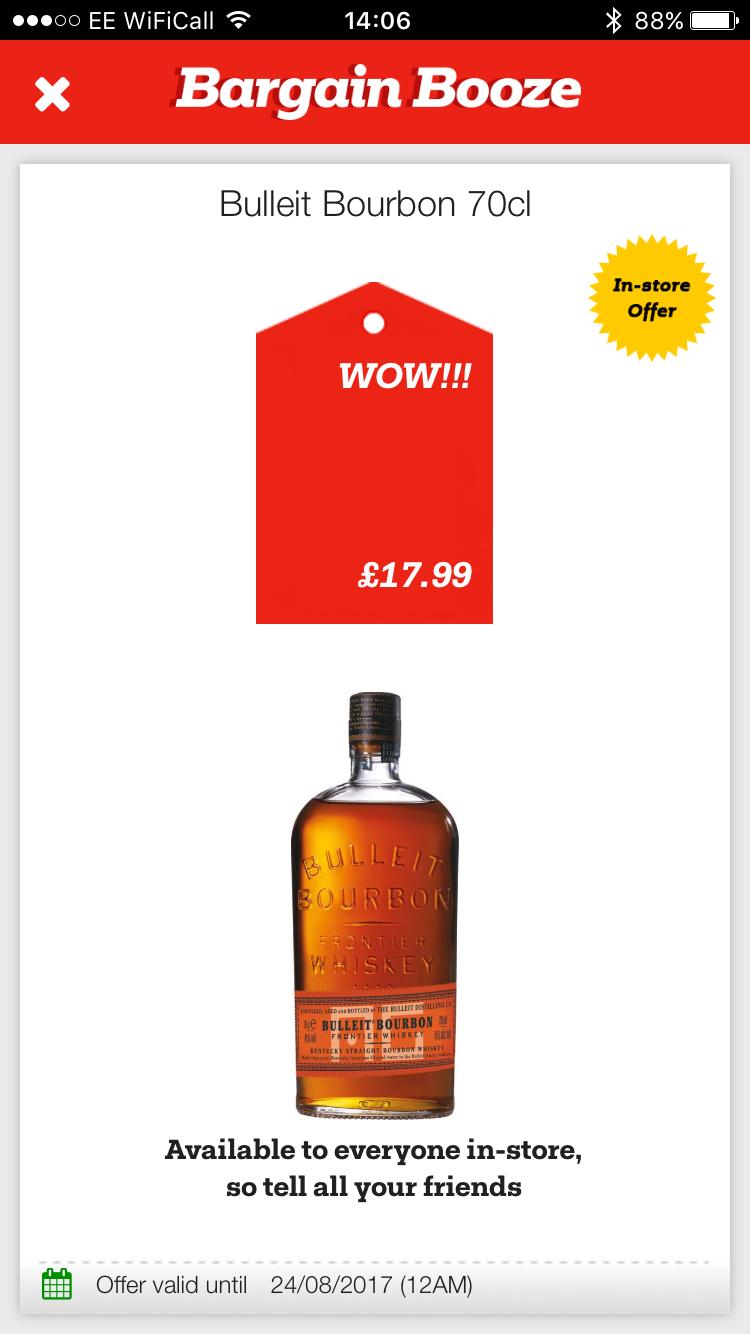 Bulleit bourbon 70cl @ Bargain Booze £17.99