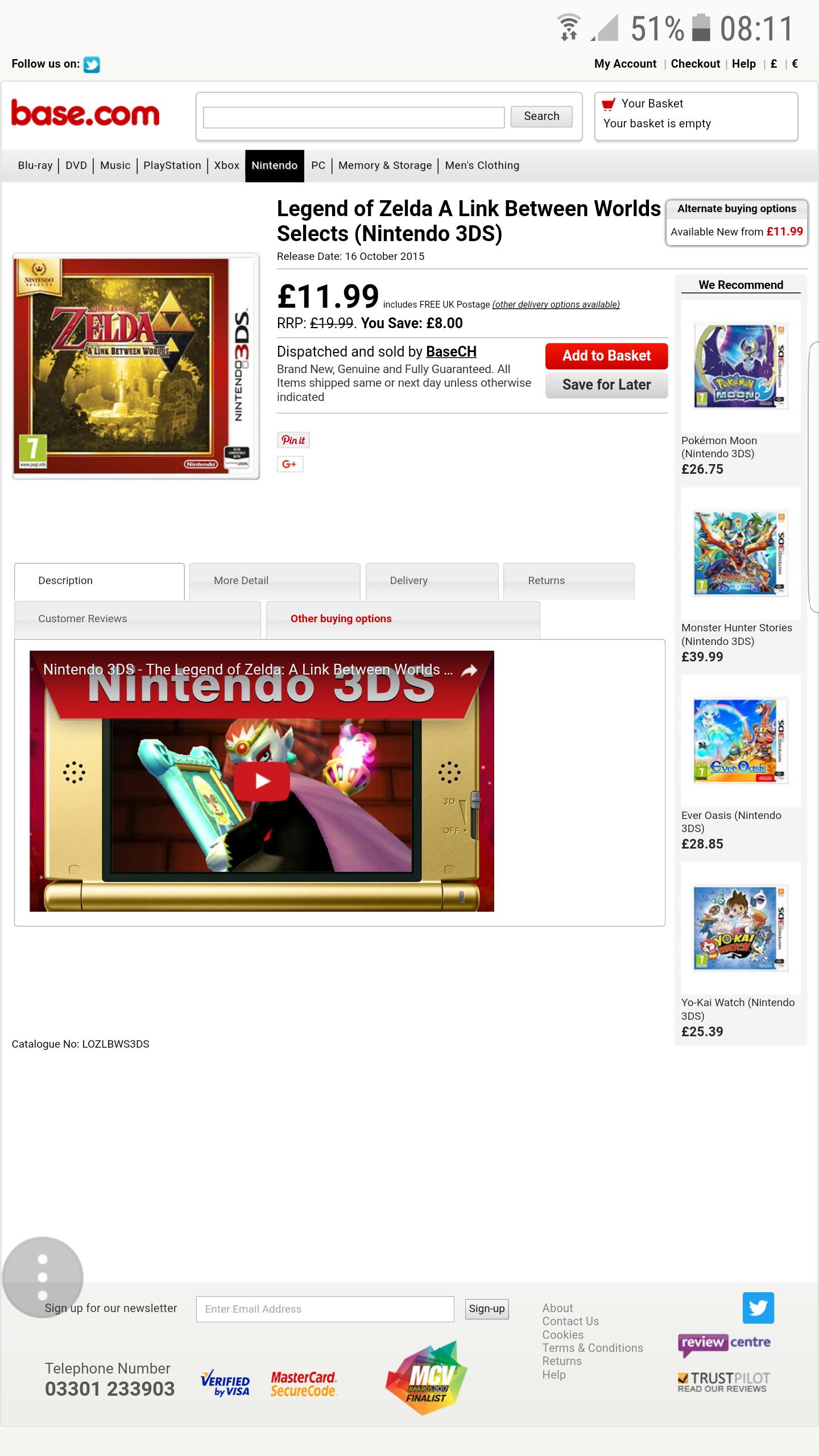 Legend of Zelda A Link Between Worlds Selects (Nintendo 3DS) £11.99 - Base.com