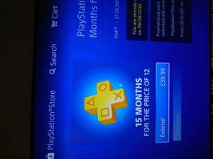 Playstation plus 15 months for the price of 12 months £39.99 til 29/08/17 @ playstation store