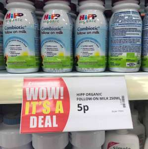 hipp organic follow on milk 250ml for 5p in Poundstretcher