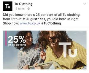 *Now Live * Sainsbury's 25% off TU Clothing Sale starts 15th August + Get 5x Nectar Points on Back to School