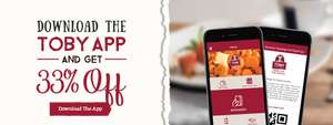 33% off Toby Carvery with a £15 spend (via the app) + a free J20