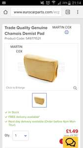 Trade Quality Genuine Chamois Demist Pad @ EURO CAR PARTS FOR 95p after using code MID36 with free delivery, normally £1.49 each