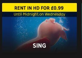 99p Sing Digital HD Rental at Rakuten TV