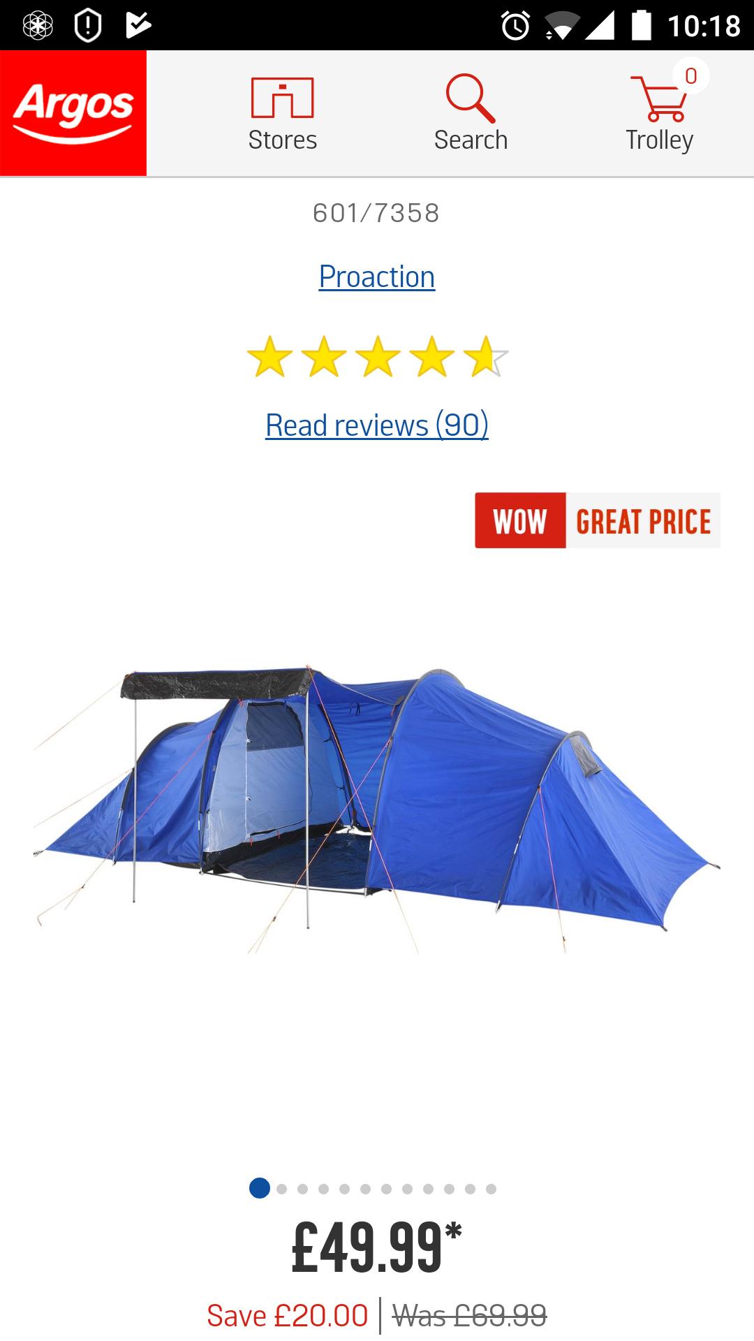 ProAction 6 Man 2 Room TentOnly £49.99 @ argos