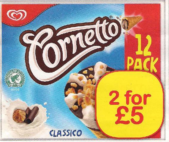 12 Pack Cornetto Classico 2 for £5.00 @ Farmfoods