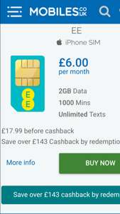 EE sim only 1GB for £5.50, 2GB for £6, 3GB for £17.99 p/m  = £215.88 (£6 p/m after cashback), 12 month sim only via Mobiles