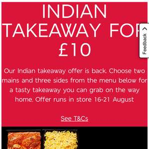 M&S Indian meal deal 2 mains 3 sides £10