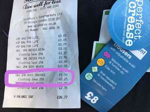 Sainsbury's 2 pack grey school trousers - were £8 but scanned thru at 75p.