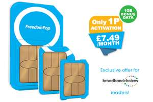 FreedomPop 3GB £7.49 per month unlimited minutes and texts