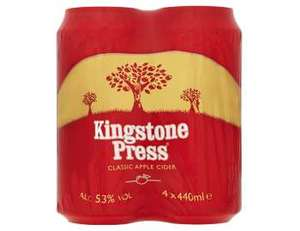 FREE Kingstone Press Cider (4x440ml) @ Tesco via Quidco Clicksnap cashback.
