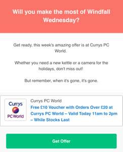 Free £10 Currys PC World voucher with orders over £20 valid today 11am - 2pm @ vouchercodes