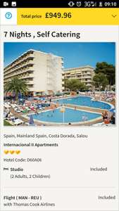 October School Holidays: 22-29/10 Spain 1 Week 2 Adults 2 Children £237.46pp/£949.46 for Whole Family Inc Flights, Hotel, 15kg Luggage & Transfers @ Thomas Cook