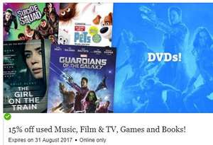 15% off Music, Film & TV, Games and Book at musicMagpie