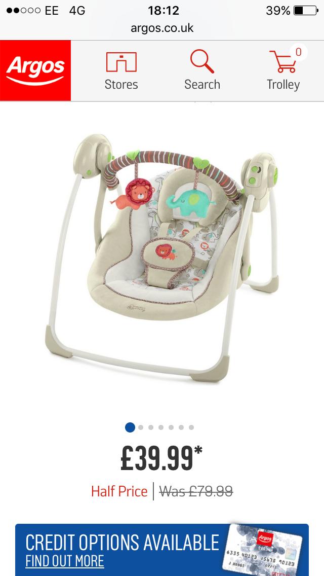 Ingenuity Portable Swing - Cozy Kingdom £39.99 @ Argos