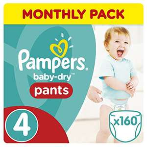 Pampers Baby-Dry Pants Size 4, 8-14 kg, 160 Nappy Pants just 8p per nappy £12.80 @ Amazon (S&S)