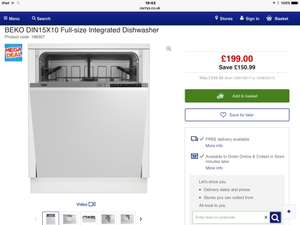 BEKO DIN15X10 Full-size Integrated Dishwasher WAS £349.99 NOW £199 - Currys