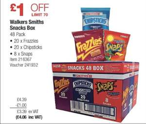 Walkers Smiths 48 Snack Box - 20 x Chipsticks 20 x Frazzles 8 x Snaps Crisps Chips @ Costco warehouse