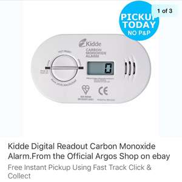 Kidde Digital Readout Carbon Monoxide Alarm - £19.99 From the Official Argos Shop on ebay.