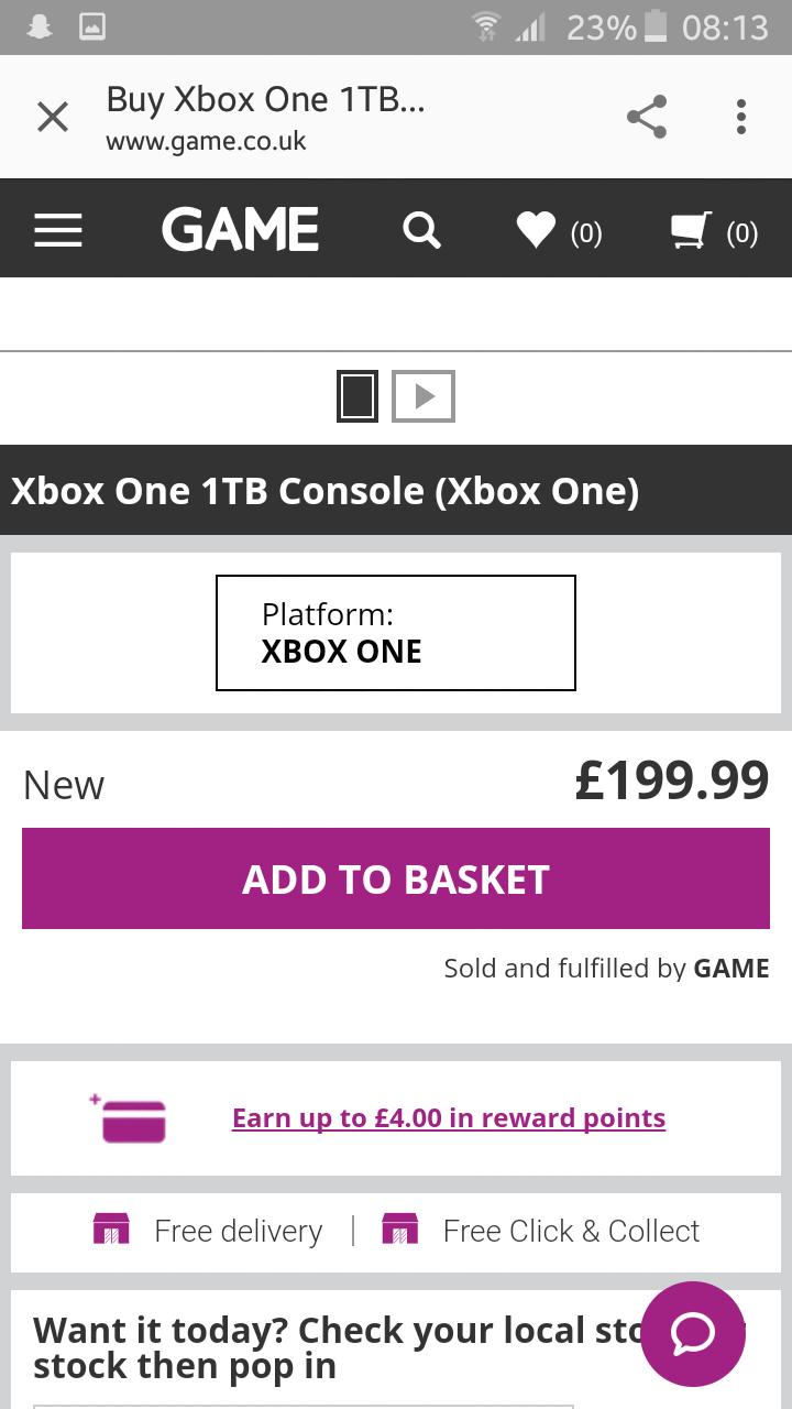 Xbox One 1TB £199.99 @ Game