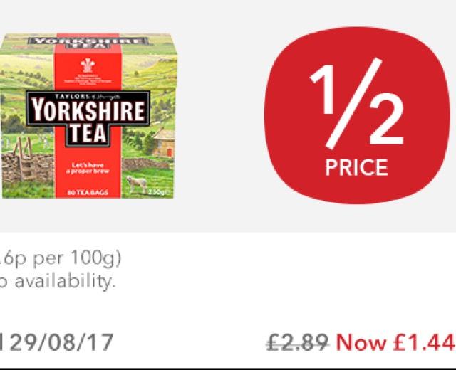 Taylors Yorkshire 80 Tea Bags HALF PRICE £1.49 (TCB 75p) @ Co-Op