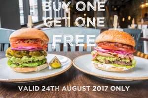 It's finally here! TODAY ONLY! BOGOF on National burger day at Handmade burger company.