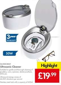 Ultrasonic Cleaner 600ml 50W - £19.99 LIDL (Silvercrest) - 3 Year Warranty