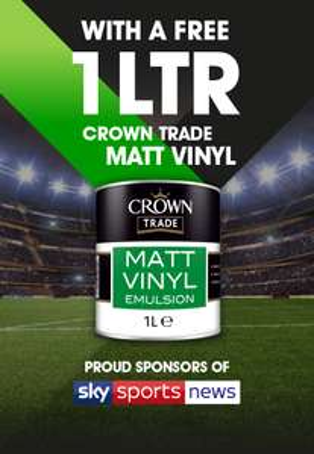 1 Litre of Crown Trade Matt Vinyl Emulsion paint free @ Crown Decorator Centres
