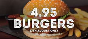 All burgers (Excluding doubles) priced upto £14.45 now £4.95 All Day 24th August to Celebrate Results Day @ Frankie and Bennys ( also available voucher for 33% off main menu)