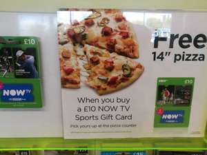 """Free 14"""" pizza with a £10 Now TV sports gift card in Asda"""