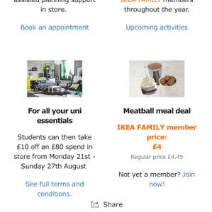 NOW LIVE: IKEA Birmingham, Coventry and Wednesbury Student Offer: £10 off an £80 spend (Valid Monday 21st August to Sunday 27th August)